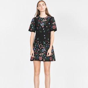 Zara Women Floral Embroidered Short Sleeve Dress-I